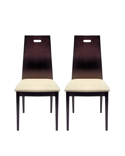 Aeon Set of 2 Boston Solid Beechwood Dining Chairs, Coffee