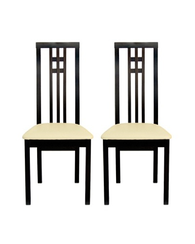 Aeon Set of 2 Euro Home Collection District-2 Dining Chairs, Coffee
