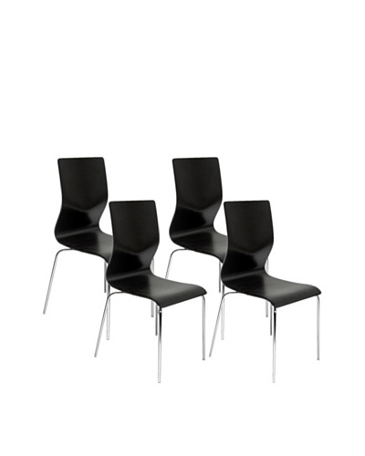 Aeon Set of 4 Lisi Bentwood Chairs, Black
