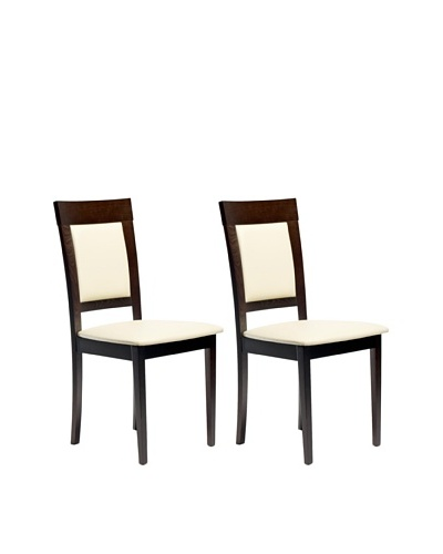 Aeon Set of 2 Euro Home Collection Newport Beechwood Dining Chairs, Coffee