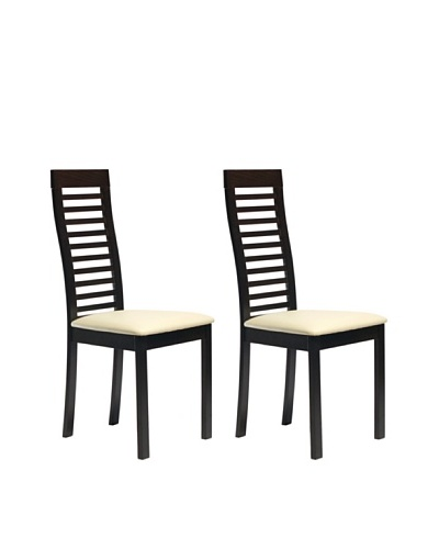 Aeon Set of 2 Euro Home Collection Denver Solid Beechwood Ladder Back Chair, Coffee
