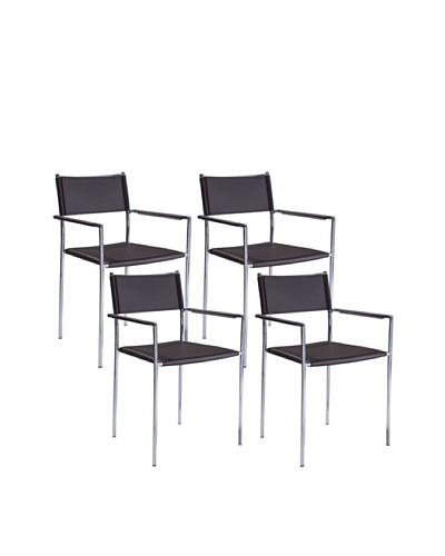 Aeon Set of 4 Metropolitan Leather Chairs, Black