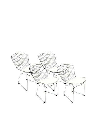 Aeon Set of 4 Euro Home Collection Wendy Chromed Steel Wire Frame Side Chairs, White