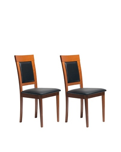 Aeon Set of 2 Euro Home Collection Newport Beechwood Dining Chairs, Cherry