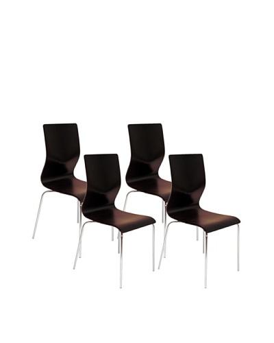 Aeon Set of 4 Lisi Bentwood Chairs, Wenge