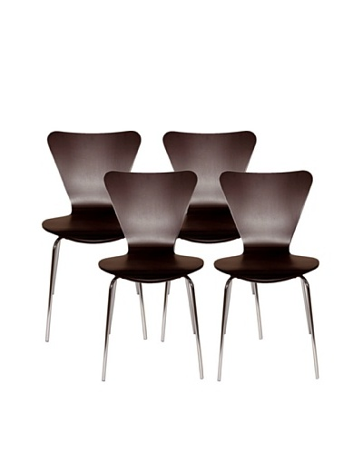 Aeon Set of 4 Lexi Bentwood Chairs, Wenge