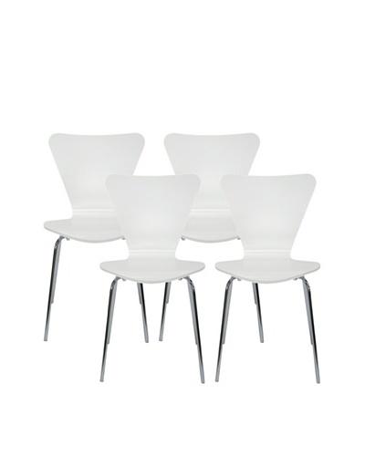 Aeon Set of 4 Lexi Bentwood Chairs, White