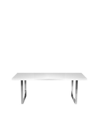 Aeon Furniture Brandon Dining Table, White/Chrome