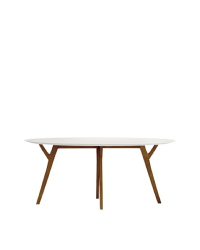 Aeon Furniture Steve Dining Table, White/Walnut