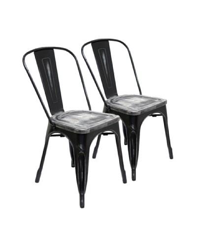 Aeon Furniture Set of 2 Garvin Chairs, Black/Wood