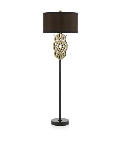 Candice Olson Lighting Grill Floor Lamp, Satin Brass/Chocolate