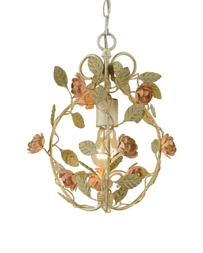 A&F Lighting Ramblin rose Mini Chandelier, Pink/White, 13 x 10 [Antique Cream Finish]