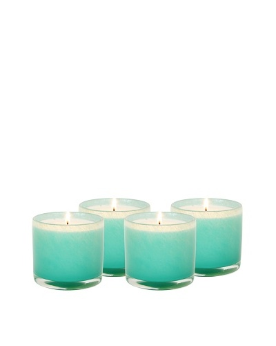Alassis Set of 4 7.5-Oz. Art Glass Candles, Lotus and White Tea, Aqua
