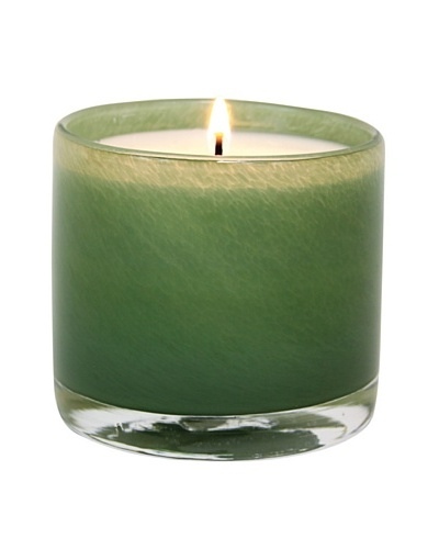 Alassis Set of 4 7.5-Oz. Art Glass Candles, Eucalyptus and Bamboo, Green