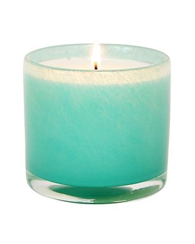 Alassis Set of 4 7.5-Oz. Art Glass Candles, Lotus and White Tea, Aqua