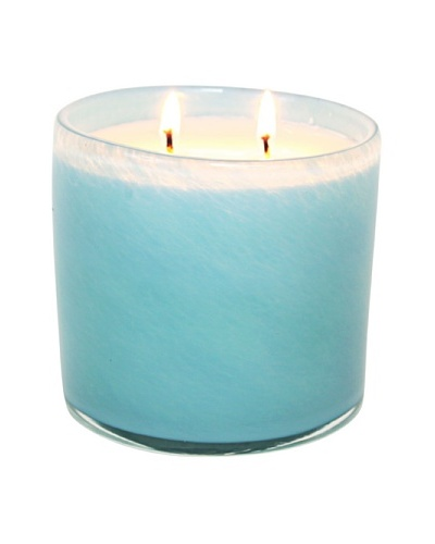 Alassis Set of 2 14-Oz. Art Glass Candles, Seagrass Musk, Sky Blue