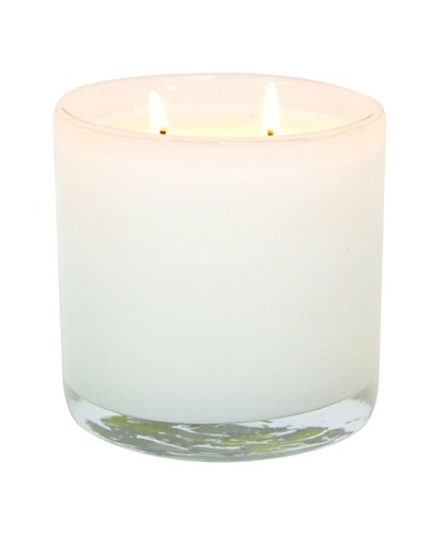 Alassis Set of 2 14-Oz. Art Glass Candles, Honeysuckle and Lily, White