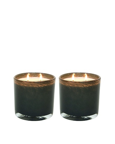 Alassis Set of 2 14-Oz. Art Glass Candles, Blackcurrant and Rosewood, Grey