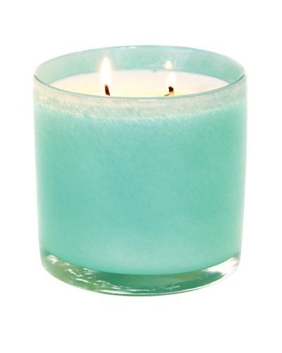 Alassis Set of 2 14-Oz. Art Glass Candles, Lotus and White Tea, Aqua