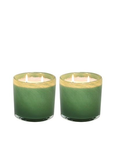 Alassis Set of 2 14-Oz. Art Glass Candles, Eucalyptus and Bamboo, Green