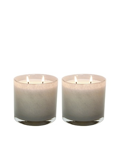 Alassis Set of 2 14-Oz. Art Glass Candles, Fig and Violet Leaves, Taupe