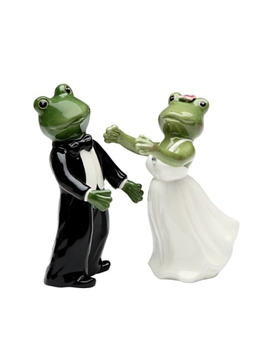 Alfrogo & Frogalina by Lee Fitzgerrell Frog Wedding Couple Hand-Made Salt & Pepper Shaker Se...