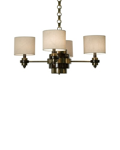 Allison Davis Design Lighting Bombay Chandelier, Antique Brass/Brown/Natural