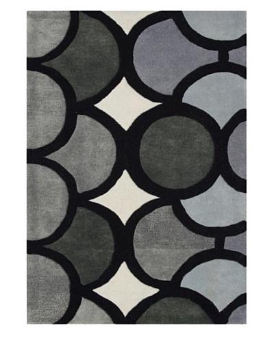 Alliyah Rugs Geometric Rug, Grey/Ivory/Charcoal, 8' x 10'