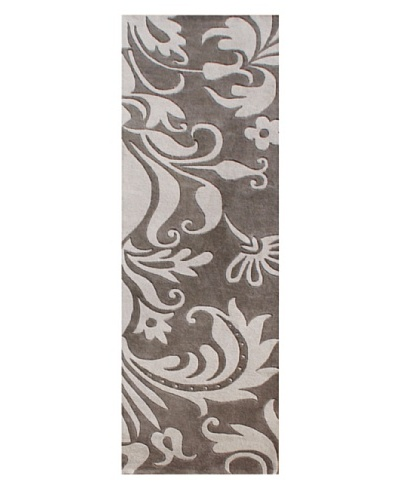 Alliyah Rugs Sabrina Rug, Light Grey/Dark Grey, 3' x 10'