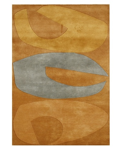 Alliyah Rugs Alliyah Handmade Rug, Steel Grey/Apricot Buff, 5' x 8'