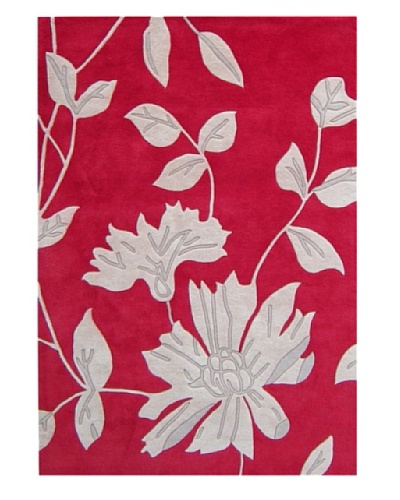 Alliyah Rugs Alliyah Hand Carved Rug, Red/Light Grey, 8' x 10'
