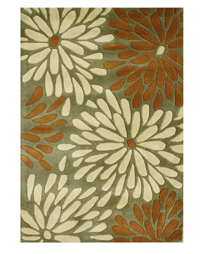 Alliyah Rugs New Zealand Wool Rug [Green/Almond/White]
