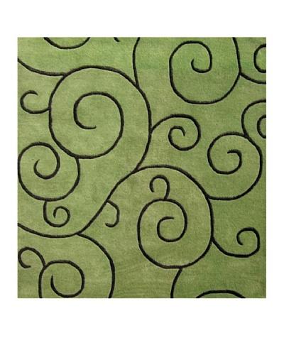 Alliyah Rugs Sarah Scrolls Rug, Lime/Turf, 6' x 6'
