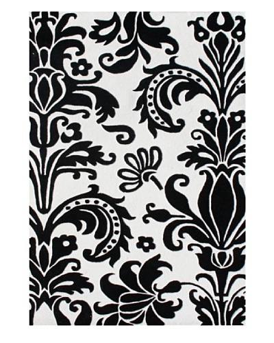 Alliyah Rugs Quill Feather Rug, White/Black, 8' x 10'