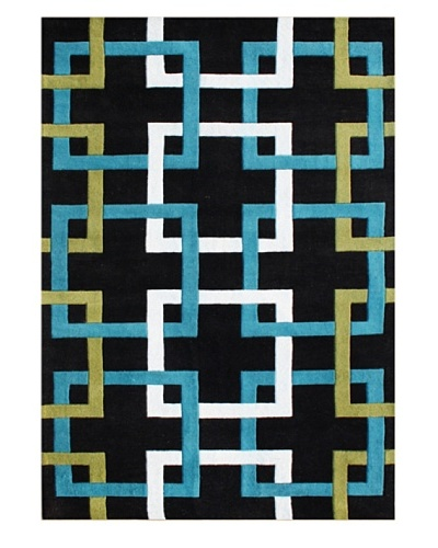 Alliyah Rugs Metro Puzzle Rug, Black/Green/Blue/Charcoal, 5' x 8'