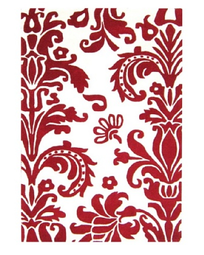 Alliyah Rugs Quill Feather Rug, Red/White, 4' x 6'