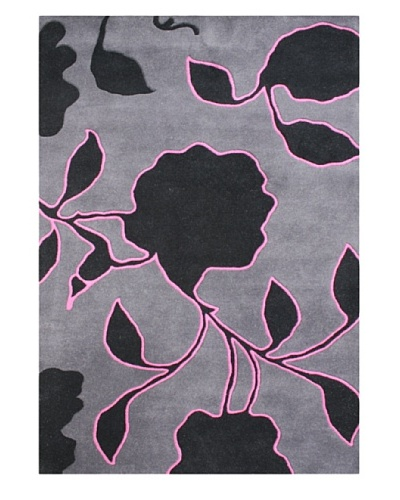 Alliyah Rugs New Zealand Wool Rug [Gray/Pink/Black]