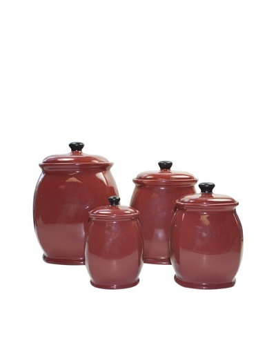 American Atelier Hearthstone 4-Piece Canister Set, Chili Red