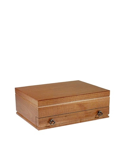 American Chest Company Light Walnut-Finished Hardwood Flatware Drawer Chest with Stirrup Pulls
