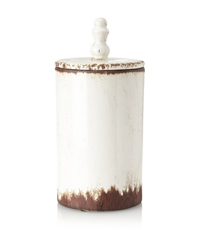 Ceramic Canister, Off-White/Brown, Large