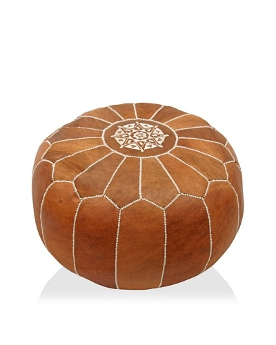 nuLOOM Genuine Moroccan Leather Ottoman
