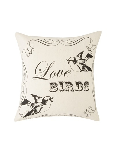 Amity French Love Birds Pillow, Natural