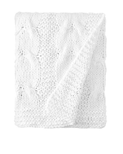 Amity Cable Knit Throw, White, 50 x 60