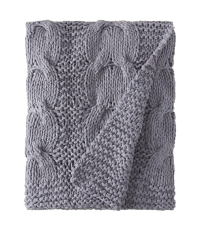 "Amity Cable Knit Throw, Steel Blue, 50"" x 60"""