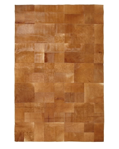 Hide Rug Brown Patchwork Rug, 6' x 9'