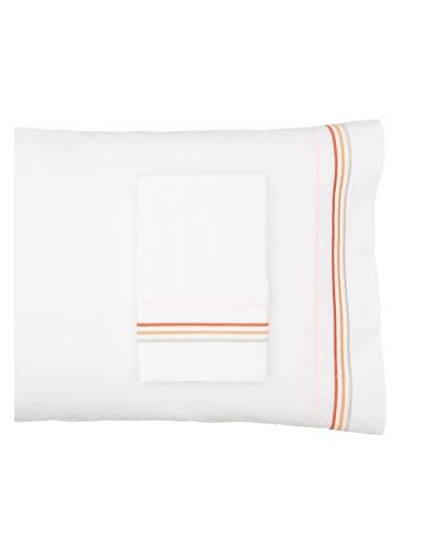 Anne de Solène Pair of Color Line Pillowcases, White/Paprika, Standard