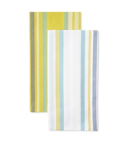 Anne De Solene Set of 2 Kitchen Towels, Averell, Blanc/Jaune, 23x30