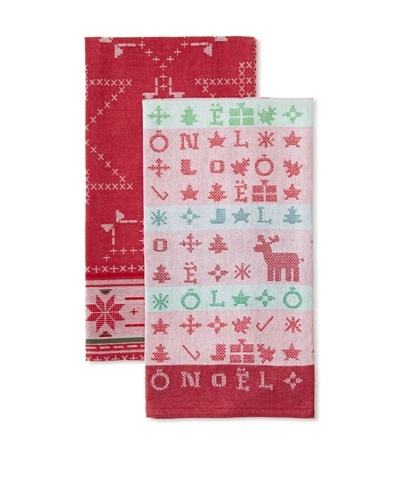 Anne De Solene Set of 2 Kitchen Towels, Jean Claude and Rudy, Rouge/Blanc, 23x30