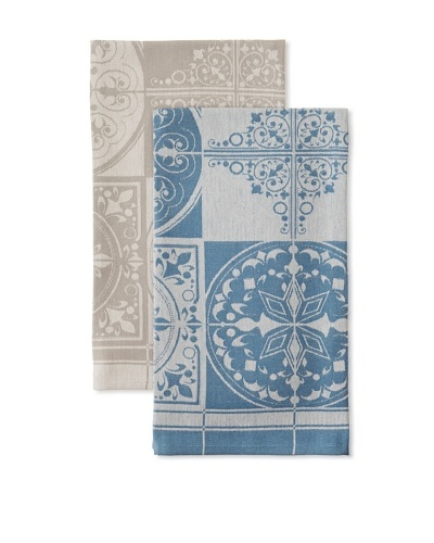 Anne De Solene Set of 2 Kitchen Towels, Victor, Petrole/Beton, 23x30