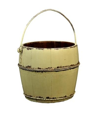 Antique Revival Wooden Water Bucket, Butter